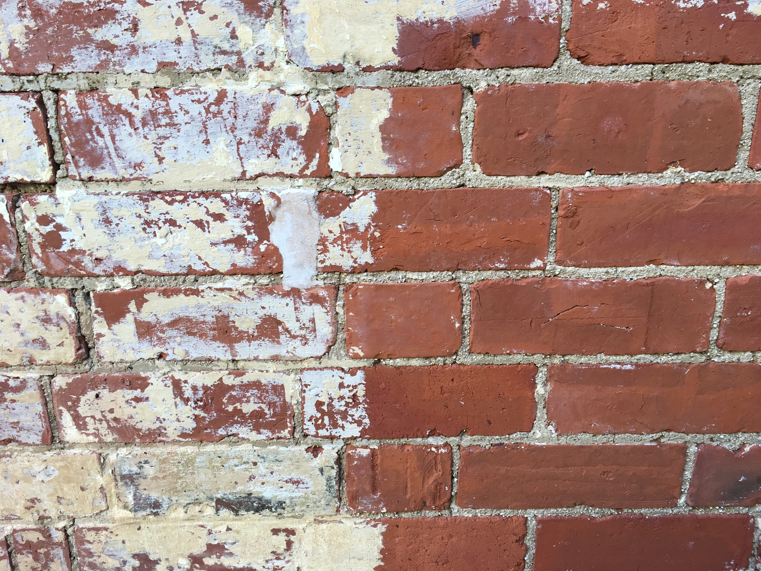 Bricks during cleaning / before and after