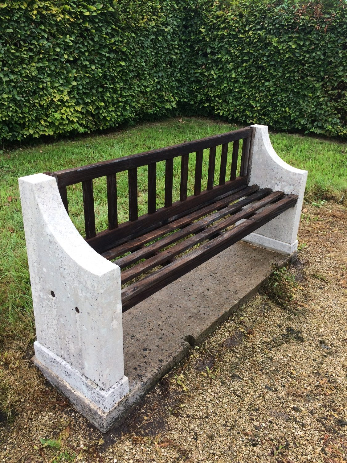 Limestone memorial bench after cleaning