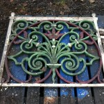 Ornate Cast Iron Fence panel before blasting